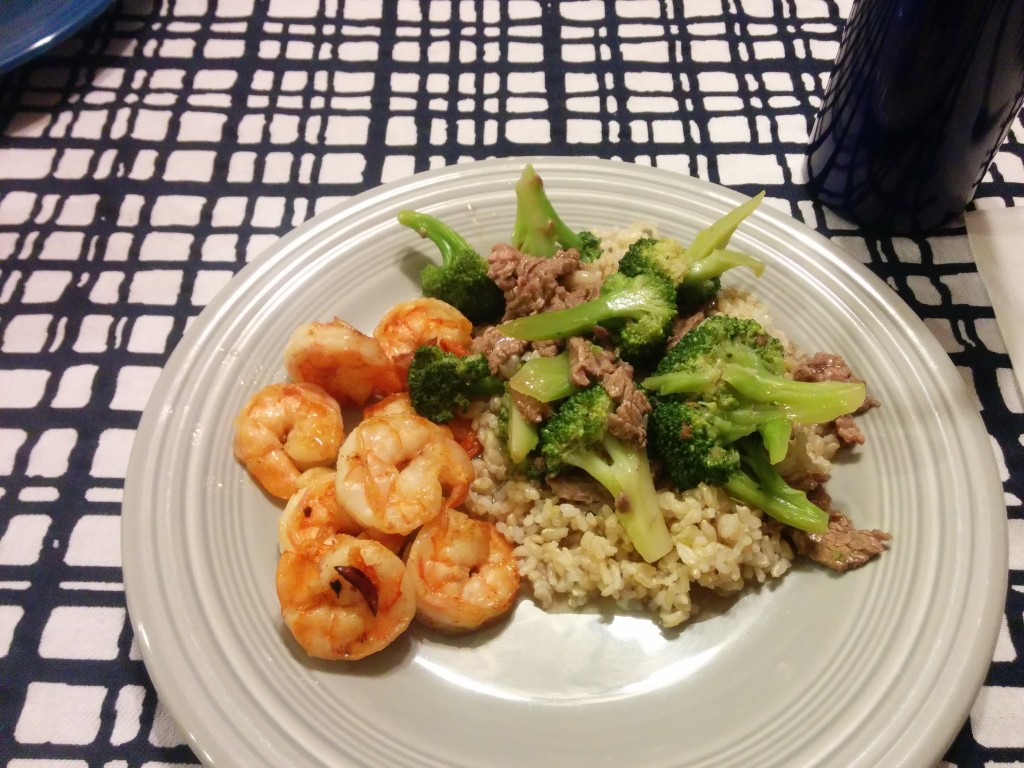 Broccoli Beef with Shrimp and Rice
