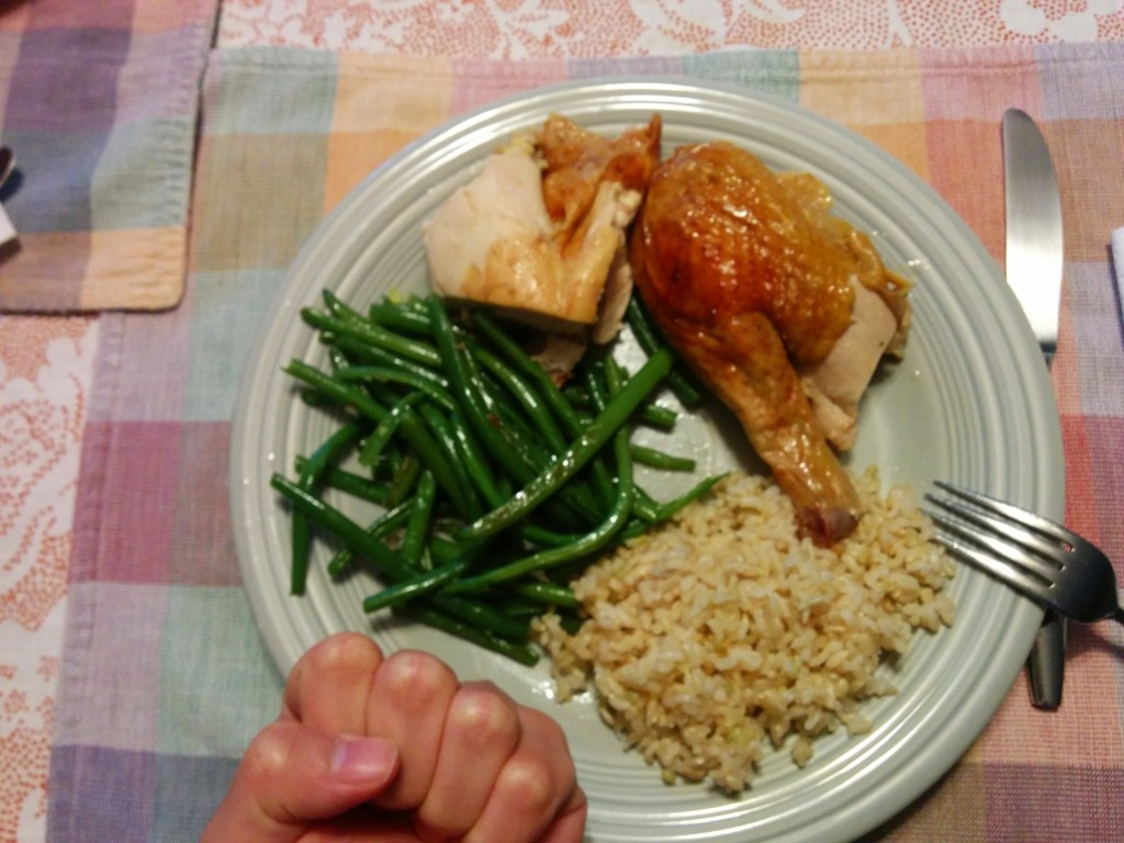 Chicken thigh, green beans, and brown rice