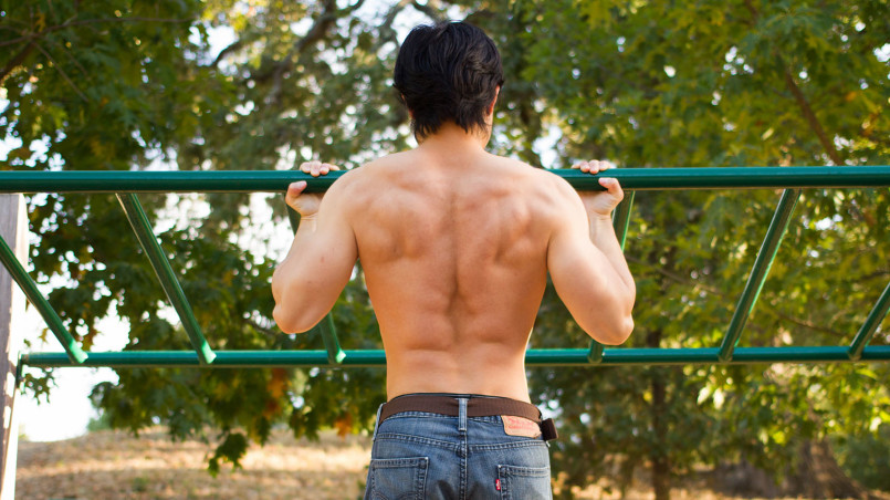 Guy Doing Pullups in Park